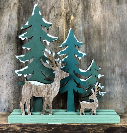 Forest Christmas Scene Reindeer & Trees Christmas Wood Ornament - Green